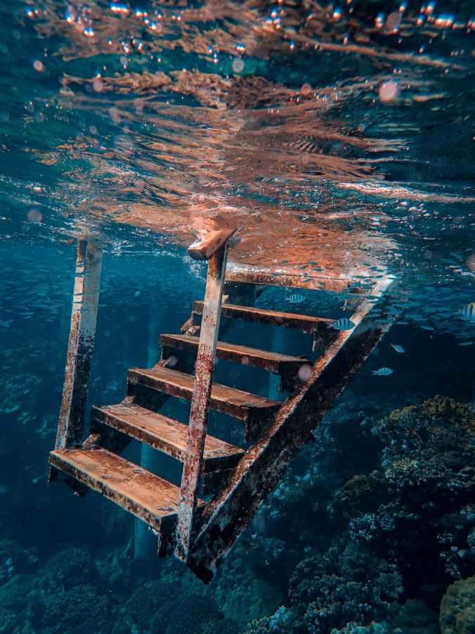 metal stairs underwater